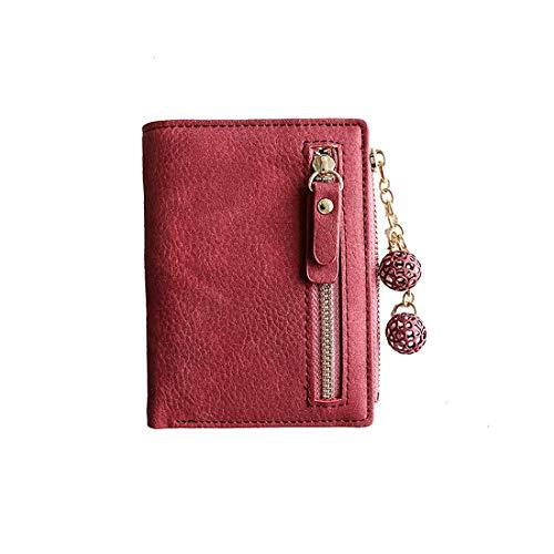 Women's Rfid Small Bifold Leather Wallet Ladies Mini Zipper Coin Purse id card Pocket,Slim Compact Thin - Ladies Fold Bi Wallet