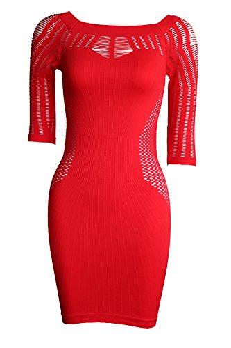 Soviyas Women's Lingerie Fishnet Seamless Night Out Club Chemise Mesh Mini Party Dress (Nite Club)