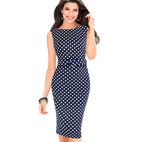 Ezcosplay Womens Elegant Pinup Belted Polka Dot Party Wear To Work Evening Shift ()