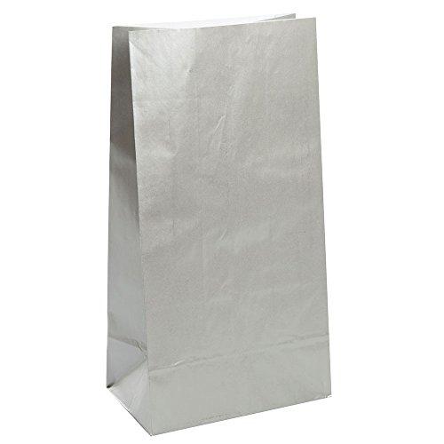 Metallic Silver Paper Favor Bags