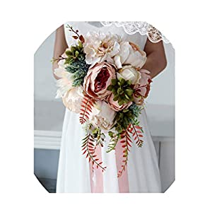 WodCht Beautiful Waterfall Wedding Bouquet Champagne Bridal Bouquet Artificial Silk Flowers for Wedding Decoration 48