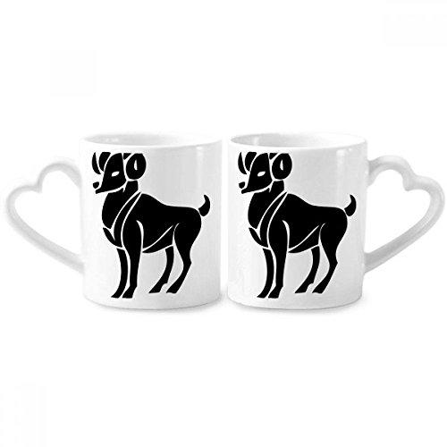 Constellation Aries Zodiac Symbol Couple Mugs Ceramic Lover Cups Heart Handle 12oz Gift