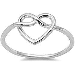 Women's Heart Infinity Knot Classic Ring New 925 Sterling Silver Band Size 7 Valentine's Day gift