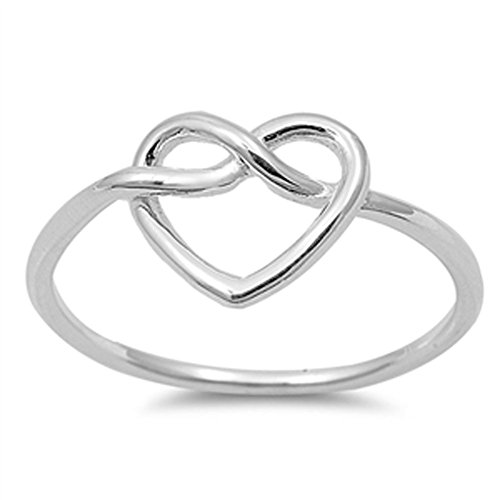 Women's Heart Infinity Knot Classic Ring New 925 Sterling Silver Band Size 6