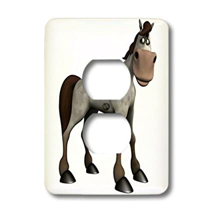 3dRose lsp/_164090/_6 Horse Standing And Looking Sheepish 2 Plug Outlet Cover