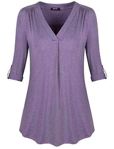 Altelime Tunic Shirts Casual, Womens Tops for Work Office V Neck Ruched Business Formal Clothes 3/4 Cuffed Sleeve Blouse Daily Relaxed Fit Shirt Knitwear Flowy Flattering Top Deep Purple (Cuffed Sleeve Top)