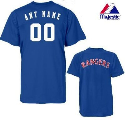 timeless design 9664a 18d3c Majestic Athletic Texas Rangers Personalized Custom (Add Name & Number)  100% Cotton T-Shirt Replica Major League Baseball Jersey