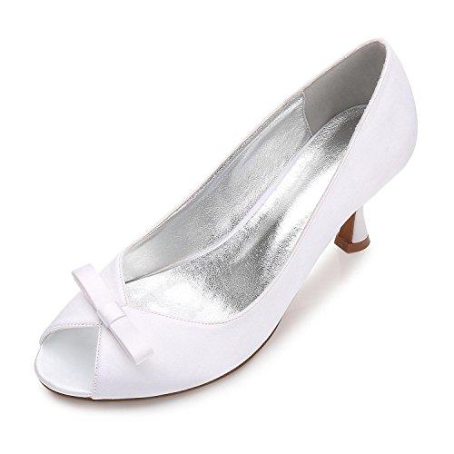Bombas Corte Trabajo De Talla Stiletto Zapatos yc Para Low Mid La White Mujer 8 Kitten Plataforma Bowknot Boda Talón L 3 S8xWvnTv