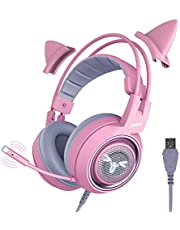 SOMIC G951 Pink Gaming Headset: 7.1 Virtual Surround Sound Detachable Cat Ear Headphomes LED, USB, Lightweight Self-Adjusting Over Ear Headphones for Girlfriend Women Kids