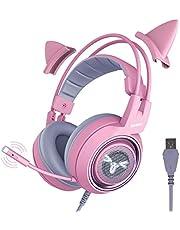 SOMIC G951 Pink Gaming Headset: 7.1 Virtual Surround Sound Detachable Cat Ear Headphomes LED, USB, Lightweight Self-Adjusting Over Ear Headphones for Girlfriend Women Kids