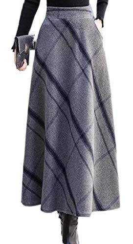 Waisted Wool - XQS Women Wool Print High Waisted Flare Winter Thicken Long Skirt with Pockets 2 M