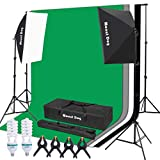 MOUNTDOG 1350W Photography Video Studio Softbox Continuous Lighting Kit with 4 Color Muslin Backdrops 6.5 x 10 Ft Background Support System Stand with Photo Chromakey Screen for Portrait Shoot