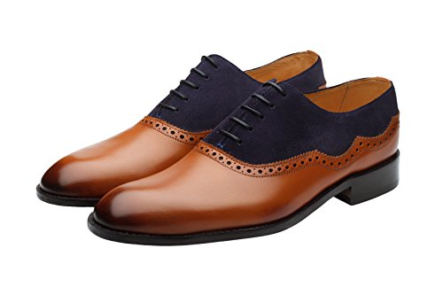 3DM Lifestyle Handcrafted Men's Genuine Leather Suede Leather Combination Oxford Tan cheap sale fashion Style sale Manchester clearance amazing price YJ4d4J