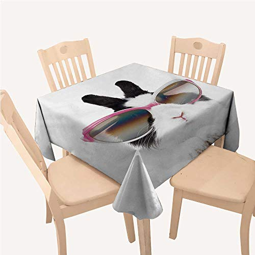 WilliamsDecor Funny Wrinkle Free Tablecloths Little Rabbit in Sunglasses Beauty Bunny Fluffy Creature Pet Portrait Fashion ImageBlack White Square Tablecloth W54 xL54 ()