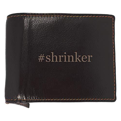 #shrinker - Soft Hashtag Cowhide Genuine Engraved Bifold Leather Wallet (Saddle Shrinker)