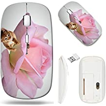 Wireless Mouse 2.4G White Base Travel Wireless Mice with USB Receiver, Noiseless and Silent Click with 1000 DPI for Notebook pc Laptop Computer MacBook Image of Pink Love Nature Romance Petals Flower