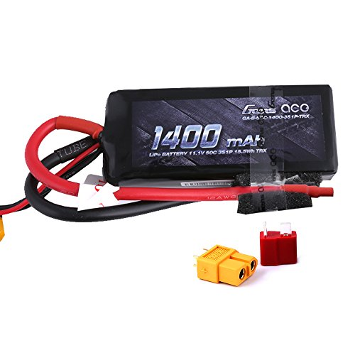 Gens ace 11.1V 1400mAh 3S 50C LiPo Battery Pack with Deans and XT60 Plug for Traxxas 1/16 VXL Revo Fiesta Boss 302 Mustang