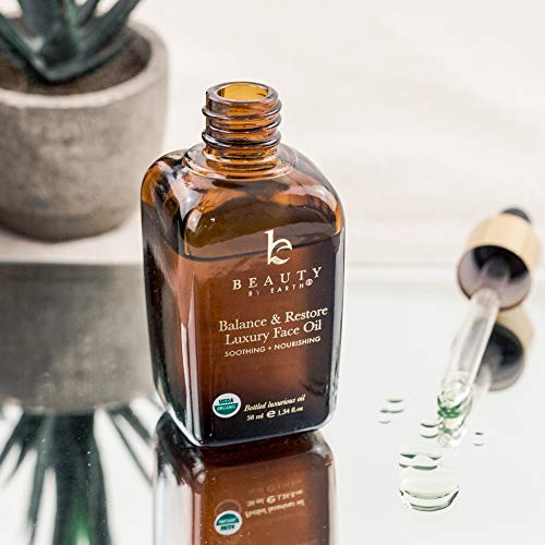 Organic Face Oil - Balance & Restore Facial Oil, Best Face Oil for Oily or Problematic Skin - Hydrating Oil for Face Helps Skin Look Balanced, Plump and Youthful