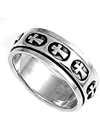 "<span class=""a-offscreen"">[Sponsored]</span>925 Sterling Silver Salvation Cross Spinner Ring"