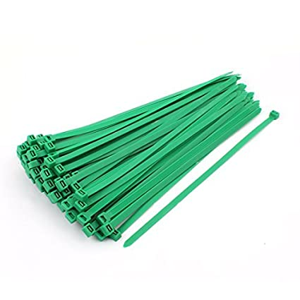 eDealMax 100 piezas DE 8 mm x 300 mm Red de Nylon Verde atadura de Cables