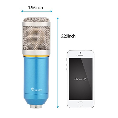 eBerry Condenser Microphone, Large Diaphragm Studio Broadcasting & Recording Vocal Condenser Mic with Shock Mount Holder Clip (Blue) by eBerry (Image #6)
