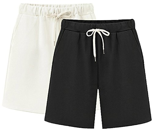- Vcansion Women's Lightweight Casual Bermuda Shorts Hiking Shorts Cotton Linen Beach Shorts 2 Pack(White+Black) Tag 2XL/US 4-6