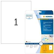 Herma 4375 - Pack de 25 etiquetas, 210 x 297 mm, transparente
