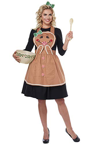 Halloween Bread Costume (California Costumes Women's Gingerbread Apron - Adult Costume Adult Costume, -Tan, One)