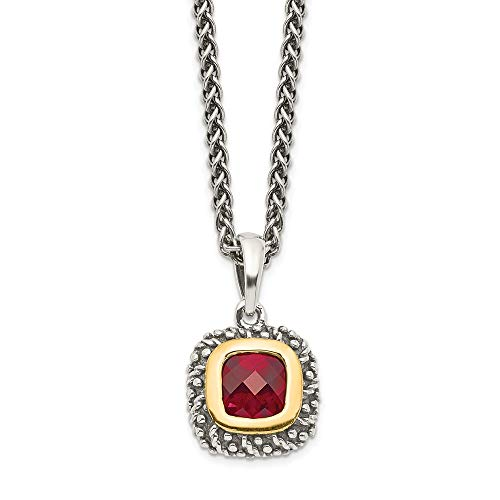 (Sterling Silver Gold Two-Tone Square Garnet Pendant Necklace 18.00mm)
