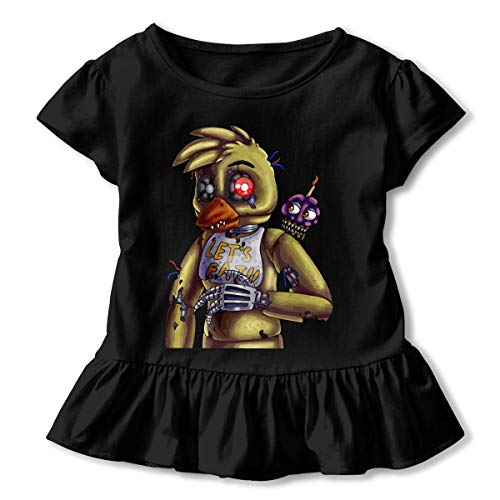 Nightmare Chica Five Nights at Freddy's Toddler Baby Girl Cotton Short Sleeve Ruffle T-Shirts -