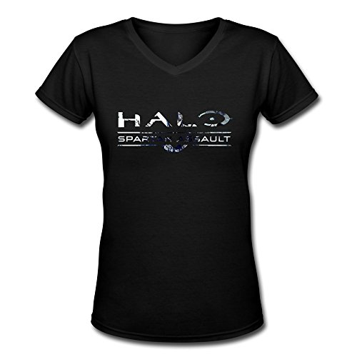 ZhiXiong Women's V-Neck 100% Cotton Halo The Master Chief Collection T-shirts (Halo Master Chief Collectors Edition)
