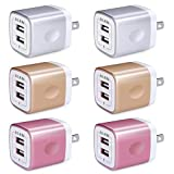 USB Wall Charger(6Pack), Ailkin 3.1A/3-Port Quick Charging Adapter, USB Plug Cube Box Block Base Cube Replacement for iPhone X/8/7, iPad, Samsung, Vivo, LG, Google Nexus and More USB Charging Phone