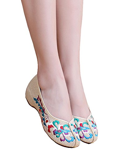Avacostume Motif De Broderie Womens Weave Casual Chaussures Mocassin Beige