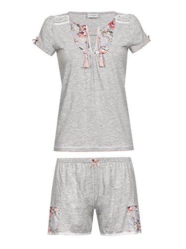 Vive Maria Rose Fleurie Short Pyjama, Pijama Entero para Mujer Grau (grey-melange allover)