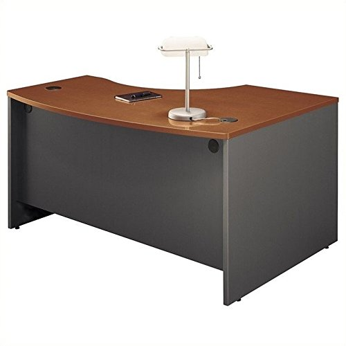 - Bush Business Furniture Series C Collection 60W x 43D Left Hand L-Bow Desk Shell in Auburn Maple