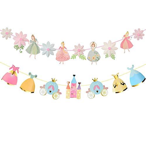 (Princess Birthday Decoration | Fairy Birthday Decoration | Pink and Gold Birthday Party Decorations | Garden Fairy Home & Cab shape Birthday Party Banner | Princess & Flower shape Birthday Party Banner)