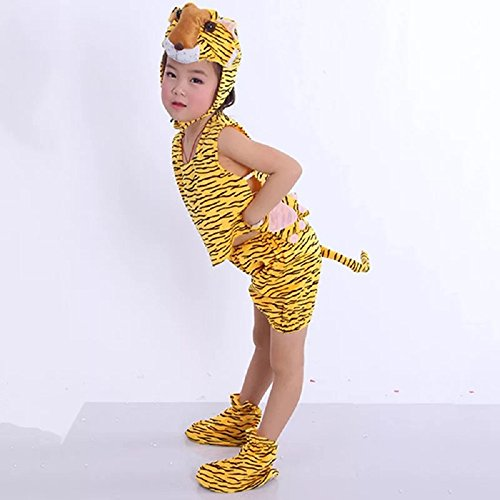 Kids Sleeveless Animal Costumes Children's Summer Fancy Dress Pajama Party Cosplay (Tiger, L (for Kids 105-120 cm Tall)) -