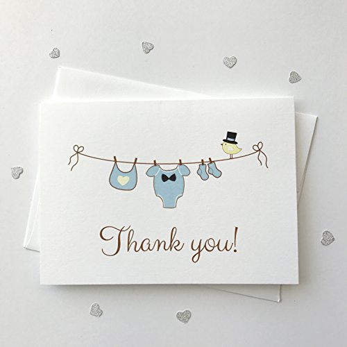 12 ct Baby Boy Shower Thank You Cards,