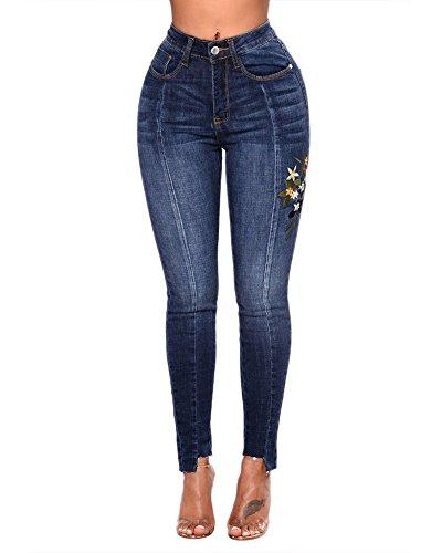 Azul Mujer Jeans Marino Up Bordados Skinny Pantalones Para Vaquero Pantalones Push 7qwxzUq5F