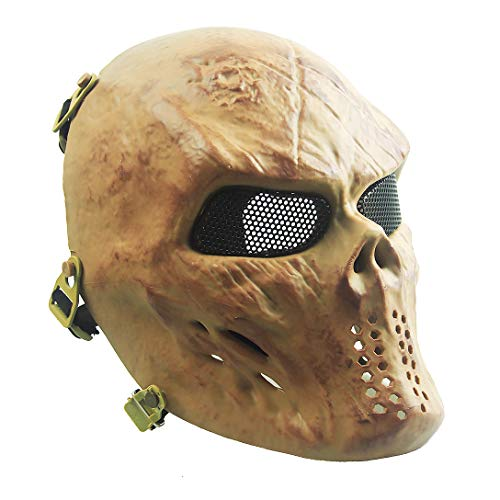 Creepy Masks Halloween (Senmortar Airsoft Mask Full Face Skull Skeletons Masks Tactical Eyes Protection Creepy Costume for Paintball Halloween Cosplay Party BBS Gun Shooting)
