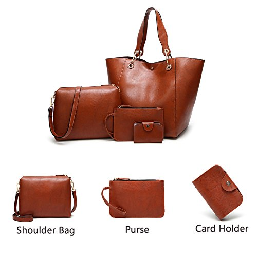 Handbags Ladies Bag Tote Card Purse Leather Ephraim a Holder Fashion for Shoulder 4pcs Handbags Bag Grey wBqwEXS