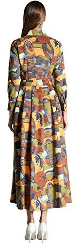 Ababalaya Damen Elegantes Druck Shirt-Ausschnitt Langer Maxi RunwayAbendkleid mit Gürtel