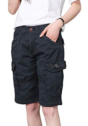 - chouyatou Women's Casual Loose Print Multi-Pockets Twill Bermuda Cargo Shorts (XX-Large, Navy Blue)