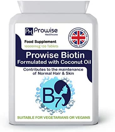 Biotin Formulated with Coconut Oil 10,000mcg 120 Tablets High Strength Biotin Tablets – UK Manufactured to GMP Guaranteed Quality - Suitable for Vegetarians & Vegans by Prowise Healthcare