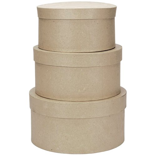 Darice 2849-04 Value Pack Round Paper Mache Box Set, 4, 5 & 6