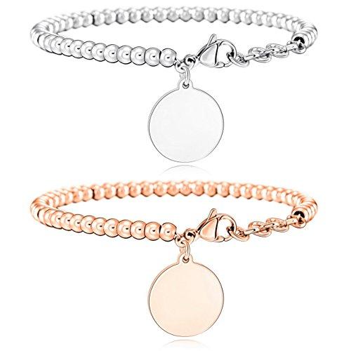 MOWOM 2PCS Silver Rose Gold Tone Stainless Steel Bracelet Link Wrist Round Tag Set