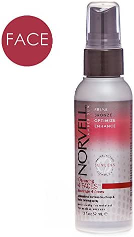 Norvell Bronzing 4-Faces Sunless Facial Self-Tanning & Touch-up Spray - Non Comedogenic Bronzer for Natural Sun-Kissed Glow, 2 fl.oz.