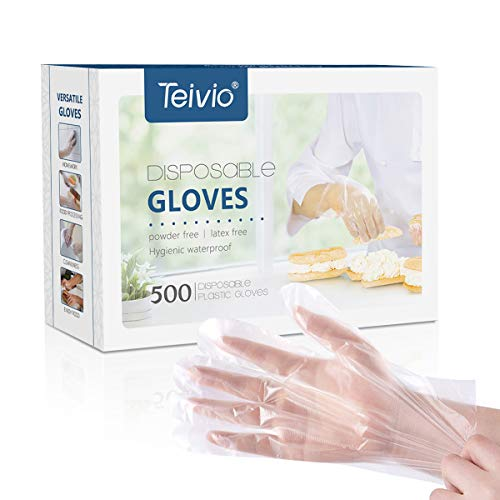 Cooking Food Plastic - Disposable Gloves, 500 Pcs Plastic Gloves for Kitchen Cooking Cleaning Safety Food Handling, Powder and Latex Free by Teivio