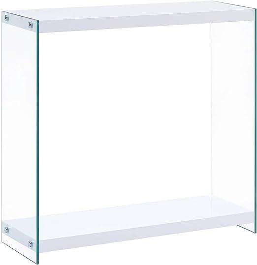 Festnight Mesa Consola Blanco y Transparente de MDF Brillante Mesa ...