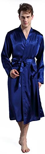 Agshcqi Bathrobe Long Robes Men Thin Solid Color Nightgown Long Sleeve Cardigan Sleepwear Loose Glossy Clothes